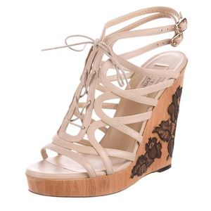 Nude and lace Valentino wedges